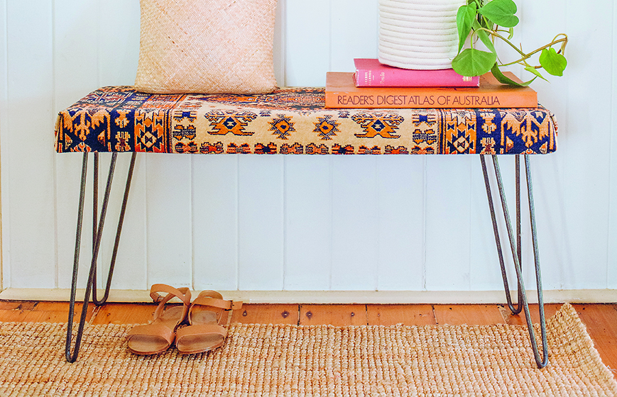 Rug Covered Bench