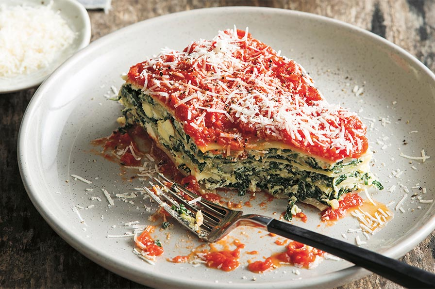 Three-cheese and silverbeet lasagne